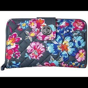 Pretty Posies Vera Bradley RFID Turnlock Wallet